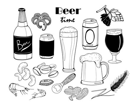 It's beer time! Graphic vector set. All elements are isolated