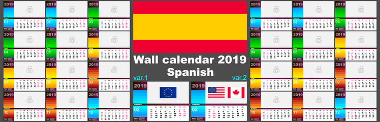 2019 spanish, hispanic wall calendar. Two ISO 8601 templates for Europe and USA Canada with week numbering. Vector