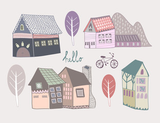 Doodle scandinavian style houses. Colored graphic vector set. All elements are isolated