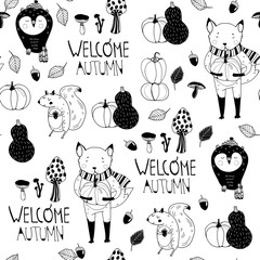 Welcome autumn. Cute forest animals. Graphic vector seamless pattern