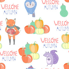 Welcome autumn. Colored graphic vector seamless pattern