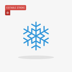Outline blue snowflake icon isolated on grey background. Christmas pictogram. Line winter symbol for website design, mobile application, ui. Editable stroke. Vector illustration, eps10.