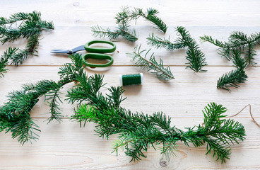 How to make fir garland using jute string and wire, tutorial.