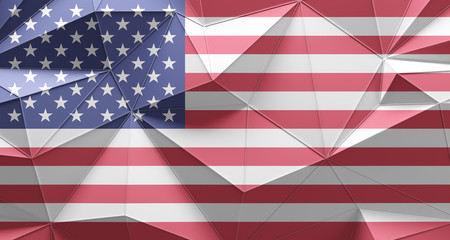 United States of America flag or USA flag low poly structure design
