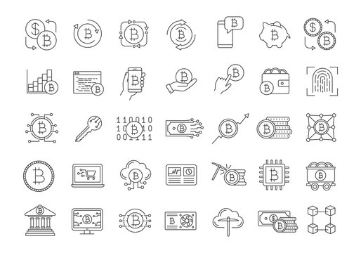 Bitcoin cryptocurrency linear icons set