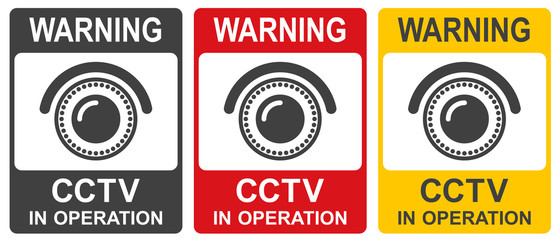 CCTV in operation sign in two colors. Vector illustration.