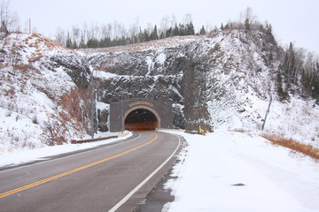 Highway Tunnel In Winter