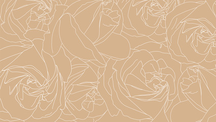 Roses bud outlines. Pattern of white roses on colored background. Hand-drawn romantic floral background. Style of sketch or doodle . Vector illustration eps10. Template for textile, wrap paper, cover