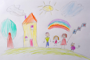 Children's drawing My Happy Family . The concept of child psychology. Psychological testing of the child using the picture.