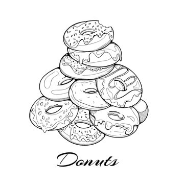 Hand drawn pile of tasty donuts. Graphic vector illustration