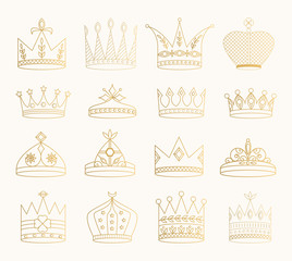Set of golden crowns, tiaras, diadems. Vector glitter illustration. Gold isolated outline icons.