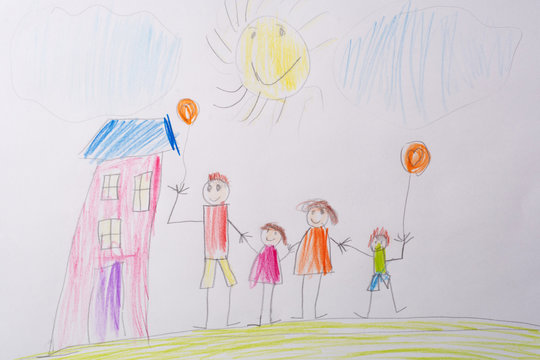 Children's drawing My Happy Family . The concept of child psychology.