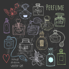 Hand drawn perfume bottles. Colored graphic vector set. Chalkboard style. All elements are isolated