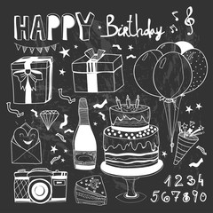 Happy birthday doodle elements. Graphic vector set. Chalkboard style. All elements are isolated