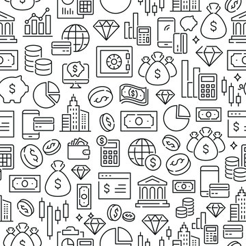 Seamless pattern with money and finance. Black and white thin line icons
