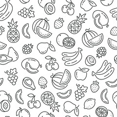 Lamas personalizadas para cocina con tu foto Seamless pattern with fruits. Black and white thin line icons