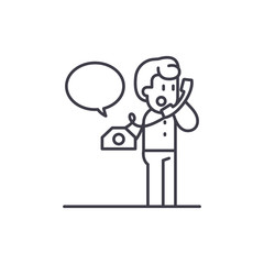 Negotiations on the phone line icon concept. Negotiations on the phone vector linear illustration, sign, symbol