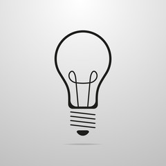 Gray light bulb icon in flat design. Vector illustration.