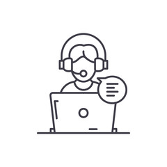 Online counseling line icon concept. Online counseling vector linear illustration, sign, symbol