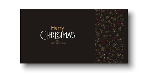 Merry Christmas and Happy New Year greeting card with festive decoration.