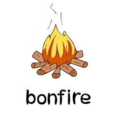 Children`s word card, learning, vocabulary, education, english language, cartoon vector bonfire, black outline, line art