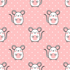 Mouse pattern, Cute cartoon mice seamless pattern background, vector illustration