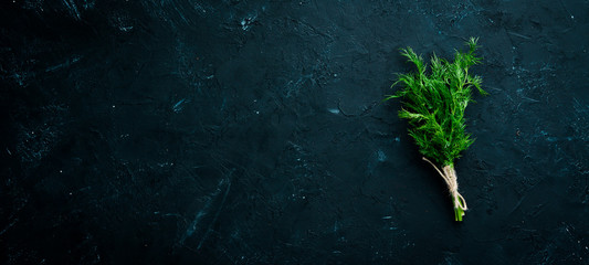 Wall Mural - Fresh green dill. On a black stone background. Top view. Free copy space.