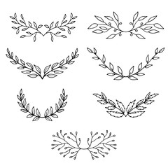 hand drawn line branches set, wedding elements