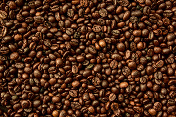 Top view of coffee beans background