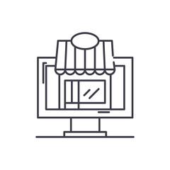 Remote trading line icon concept. Remote trading vector linear illustration, sign, symbol