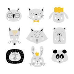 Set of cute baby animals. Children print. Doddle cat, bunny, owl, fox, sheep, bear, panda. leo. Vector isolated illustration.