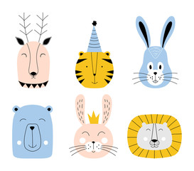 Cute animals. Baby card design. Vector illustration.