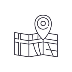 Route on the map line icon concept. Route on the map vector linear illustration, sign, symbol