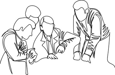a group of people discuss the work. one line. outline vector