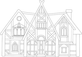 Line art with beautiful european medieval house