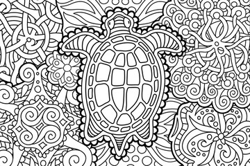 Beautiful coloring book page with cartoon turtle