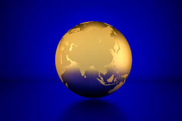 3D render: Golden globe showing Asia in front of blue background