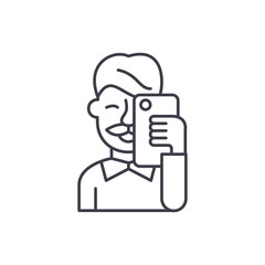 Selfies line icon concept. Selfies vector linear illustration, sign, symbol