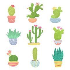 Set of flat cartoon cute desert or home pot cactus vector illustration.