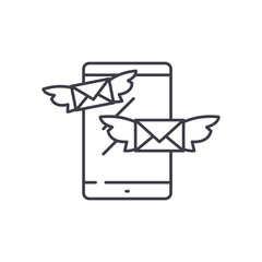 Sending messages line icon concept. Sending messages vector linear illustration, sign, symbol