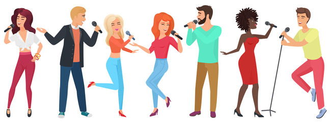 Young people stars with microphones singing and dancing. Girls and guys have fun in karaoke club vector illustration.