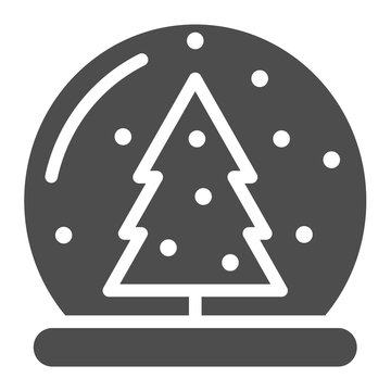 Snow globe solid icon. Glass ball vector illustration isolated on white. Crystal sphere glyph style design, designed for web and app. Eps 10.