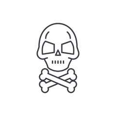 Skull with bones line icon concept. Skull with bones vector linear illustration, sign, symbol