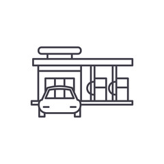 Small gas station line icon concept. Small gas station vector linear illustration, sign, symbol