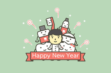happy tooth and friends with female dentist with text for Happy New Year - teeth cartoon vector