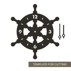 Dial with arrows and arabic numerals. The shape of the wheel. Marine theme. Silhouette of clock  on white background. Decor for home or kids room. Template for laser cutting, wood carving, paper cut.