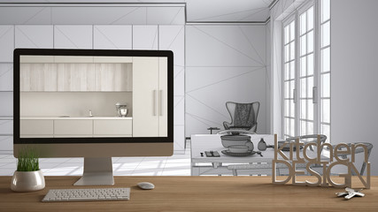 Architect designer project concept, wooden table, 3D letters words kitchen design and desktop showing draft of classic kitchen, total white sketch in the background, white interior design