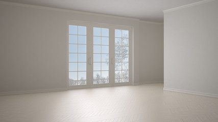 Empty room interior design, open space with big panoramic window on winter meadow with snow and trees, parquet herringbone wooden floor, white cream beige, modern contemporary architecture