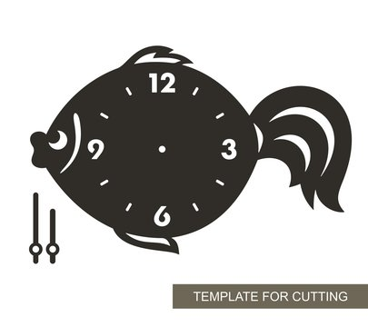 Dial with arrows and arabic numerals. Fish shape. Silhouette of clock  on white background. Decor for home or kids room. Template for laser cutting, wood carving, paper cut and printing. Vector.