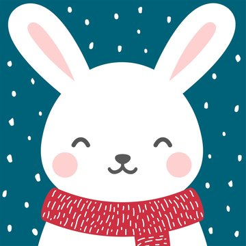 Cute rabbit winter theme card, easter or christmas bunny face background, vector illustration